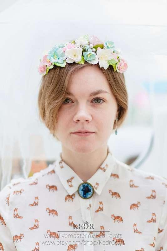 розово-бирюзовый цветочный венок невесты - фото 10569952 Авторская мастерская аксессуаров Kedr