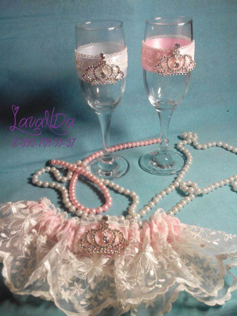 НОВИНКА! Свадебные бокалы в нежных оттенках с брошками! Можно приобрести в свадебном салоне Мечта  ! В наличии!!! - фото 11047644 Студия декора LavaNDa