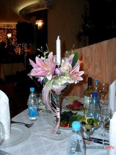 Цветочная композиция в стеклянном фужере со свечой - фото 1102 Флорист-дизайнер Елена