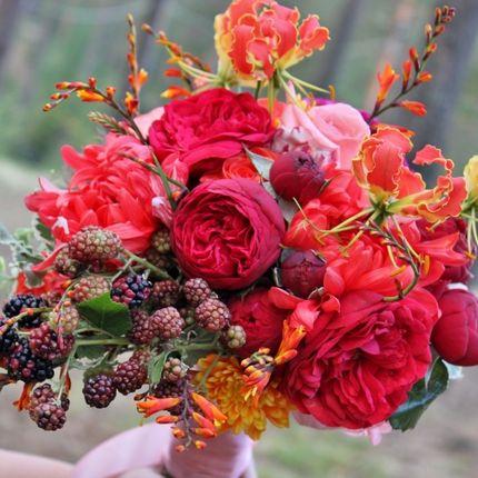Букет невесты  осенний + бутоньерка в подарок