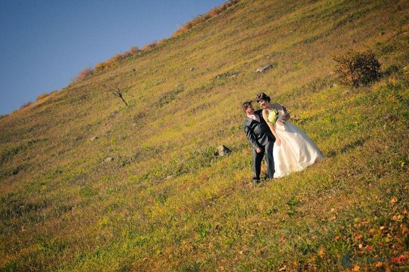Жених и невеста стоят вместе на траве в поле