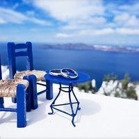 Кукольные синий столик с кольцами и стулья