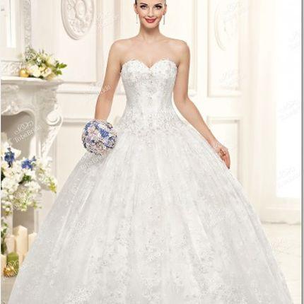 Cвадебное платье с пайетками и бисером