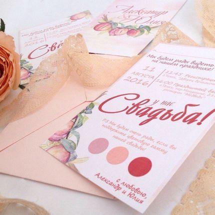 Приглашение на свадьбу + конверт, цена за 1 шт