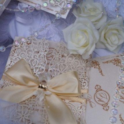 Свадебные приглашения с бантом, цена за 1 шт