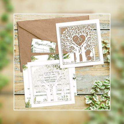 Приглашения на свадьбу в светлой гамме, цена за 1 шт