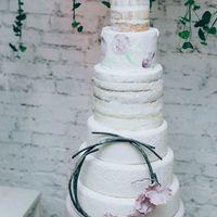 Нежные рисунки на креме. Дымчато-пудровый торт.Свадебный торт, расписанный вручную