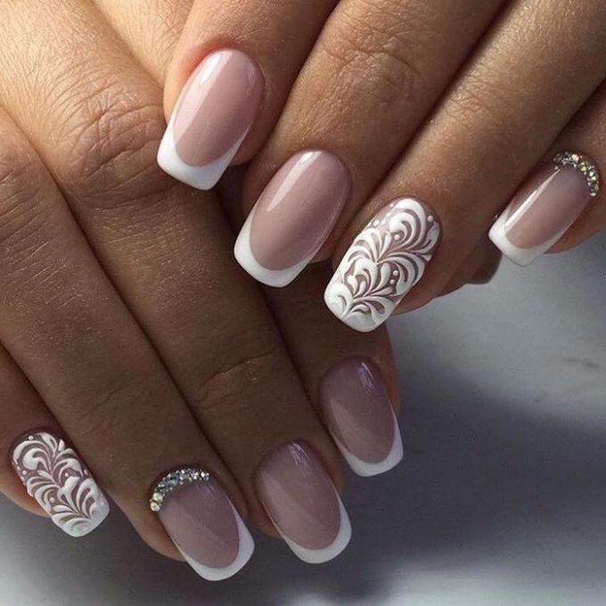 Френч для ногтей невесты