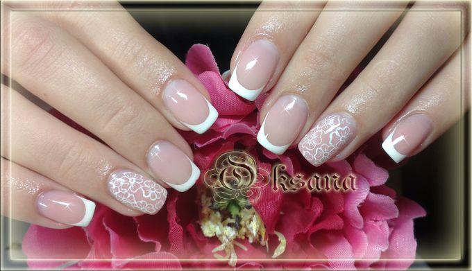 Маникюр на коротких ногтях свадебный