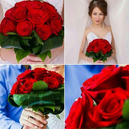Букет невесты из роз и рускуса