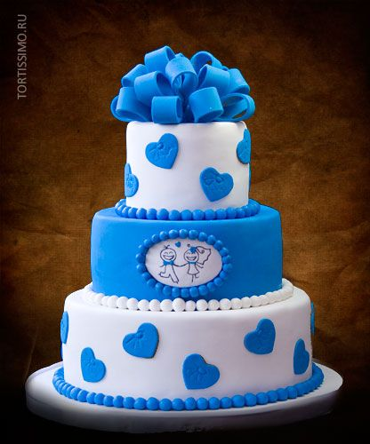 фото торт болубой с бантом