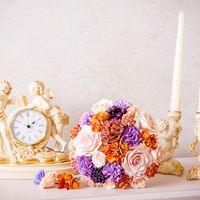 Букет невесты из полимерной глины. Очень легкий. Возможна любая палитра.