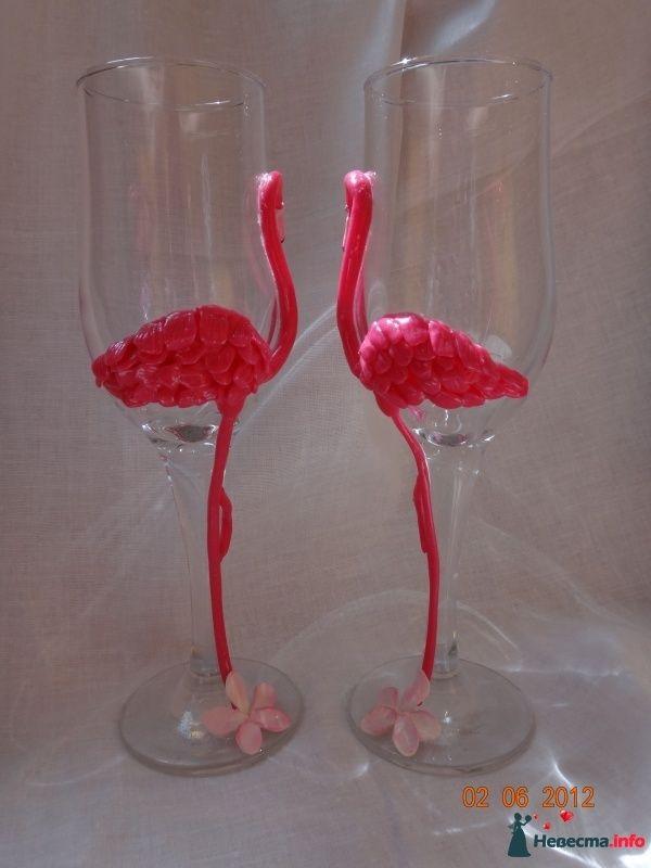 Прекрасные фламинго в другом ракурсе - фото 495445 Свадебные бокалы ручной работы - Олеся