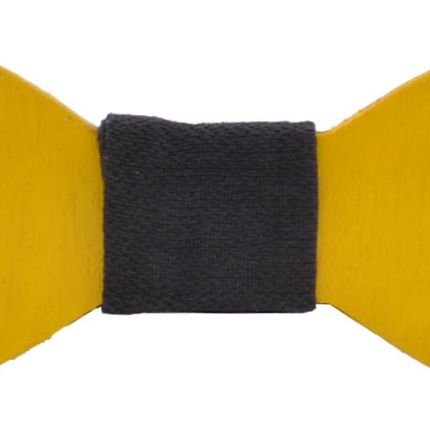 Галстук бабочка деревянная однотонная желтая