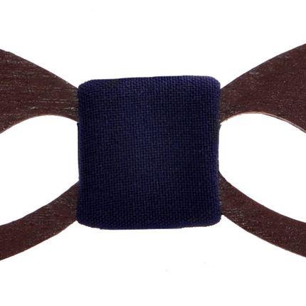 Галстук-бабочка деревянная ручной работы с усами и темно-синей серединой