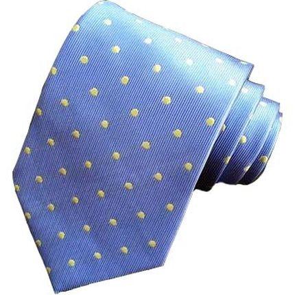 Галстук классический голубой в желтый горошек