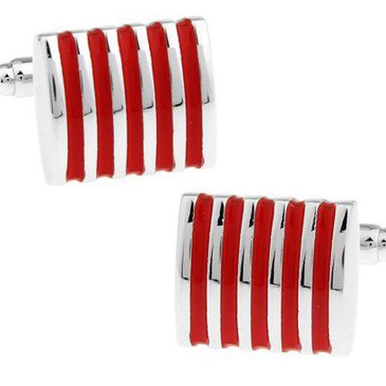 Запонки стальные в красную полоску