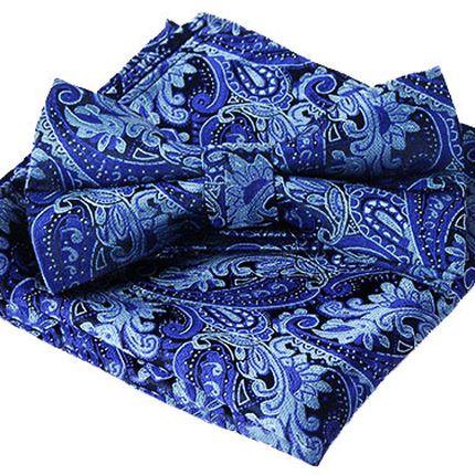 Комплект галстук бабочка и платок синий с голубым узором пейсли
