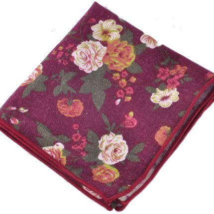 Нагрудный платок бордовый с цветами