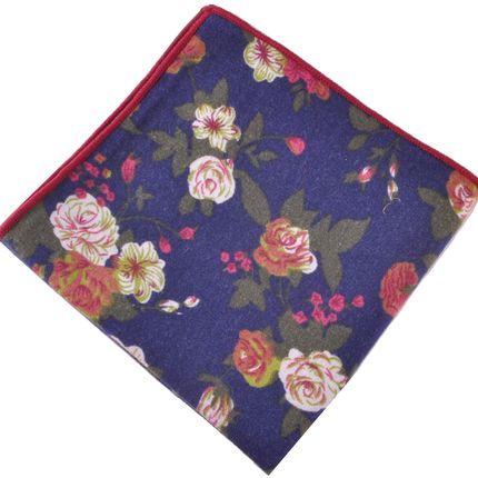 Нагрудный платок темно-синий с цветами