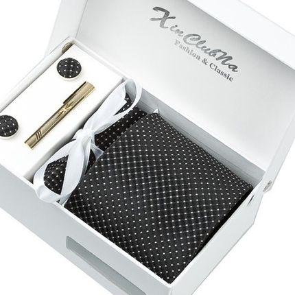 Комплект: галстук, запонки, платок черный в точку
