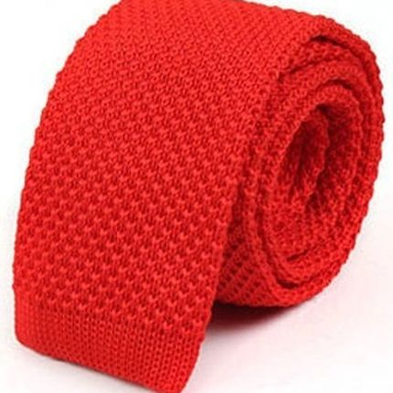Галстук вязаный красный
