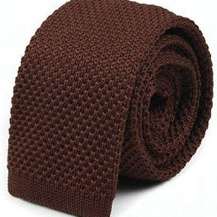Галстук вязаный шоколадный