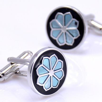 Запонки круглые с цветком, эмаль