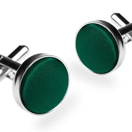Запонки однотонные зеленые