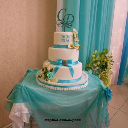 """Свадебный торт в цвете """"Тиффани"""", 10 кг"""