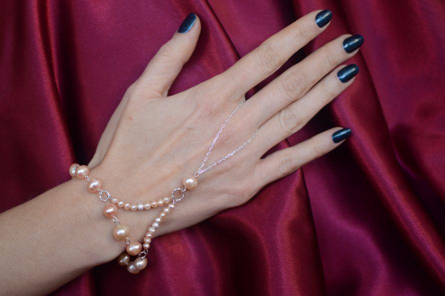 """Серебряный слейв-браслет из розового жемчуга """"Умиление"""""""