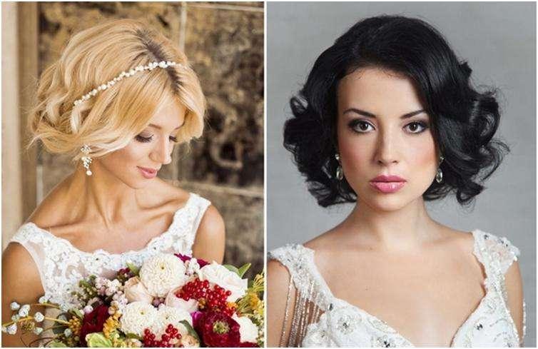 Причёска на свадьбу на короткие волосы с челкой