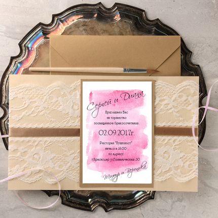 Свадебные приглашения в крафт конверте, цена за 1 шт