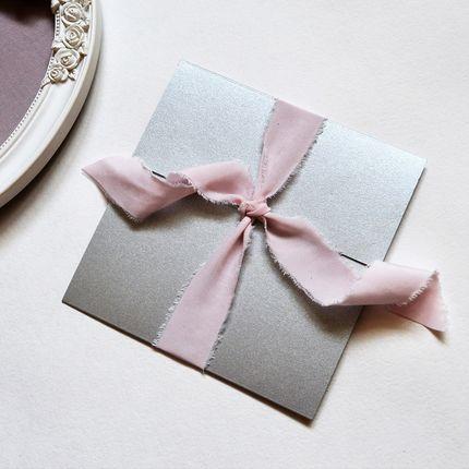 Пригласительные с пудрово-розовой винтажной лентой, цена за 1 шт
