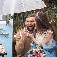 Осенняя свадебная прогулка в дождь