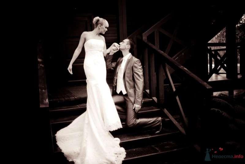 Жених и невеста, прислонившись друг к другу, стоят на лестнице - фото 61567 Liska