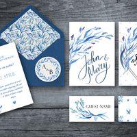 Акварельные приглашения на свадьбу в сине-голубых тонах