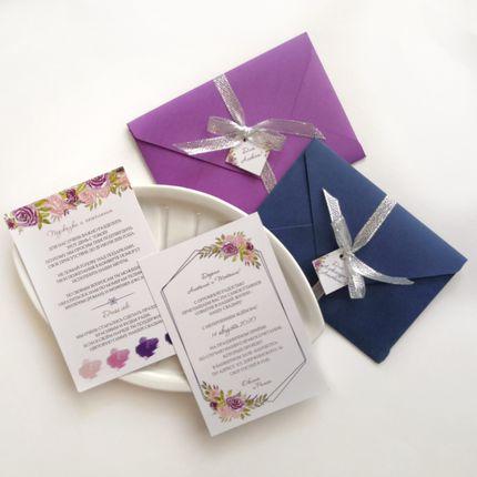 Приглашение с фиолетовыми цветами