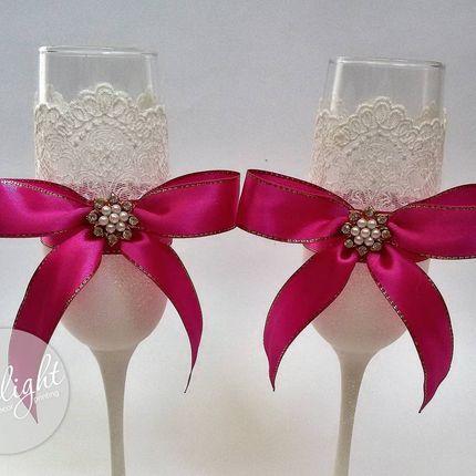 Свадебные фужеры с лентами