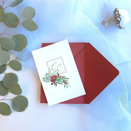 Пригласительное с двусторонней печатью в конверте винного цвета