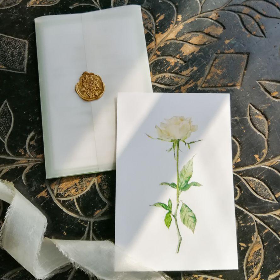 Комплект приглашений Белая роза