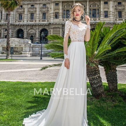 Свадебное платье со шлейфом и рукавами Mb-042