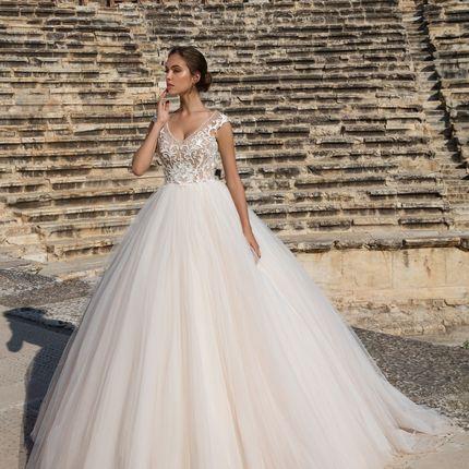 Свадебное платье в оттенке капучино