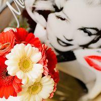 Романтическая свадебная фотография букета невесты из гербер