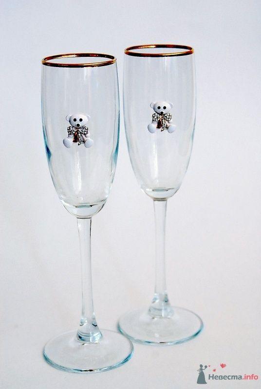 """Свадебные бокалы с мишками. Арт. 114-008 - фото 44215 """"Все для свадьбы"""" - салон аксессуаров и услуг"""