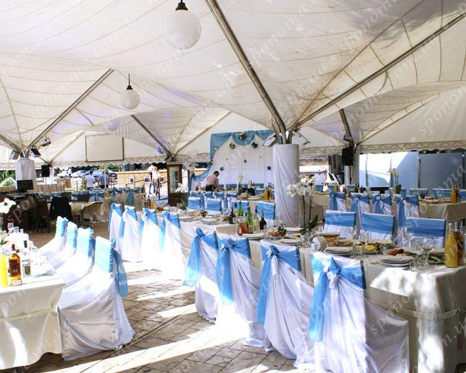 """Большая бело-голубая свадьба на открытой площадке ресторана """"Лето"""" (Утка-бар)"""