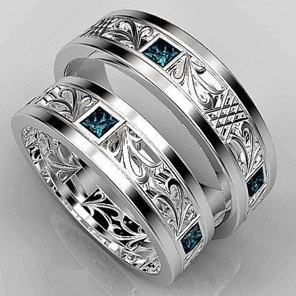 """Обручальные кольца с London-топазами """"Роскошь"""""""