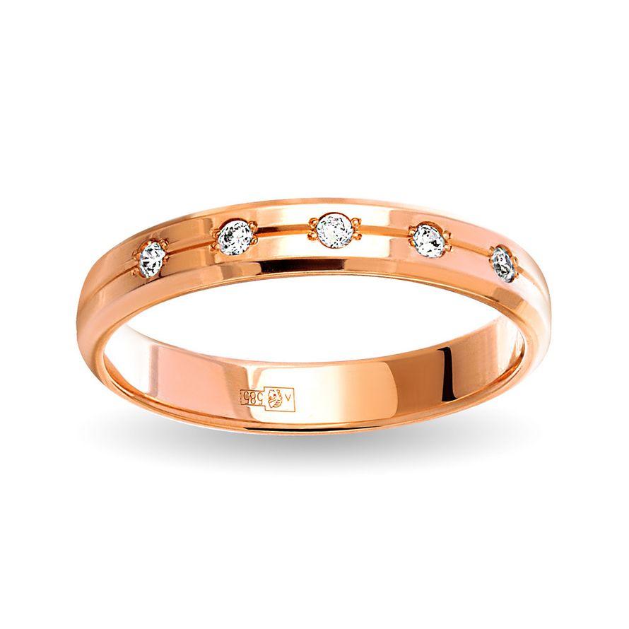 Обручальное кольцо с 5-ю бриллиантами. На заказ