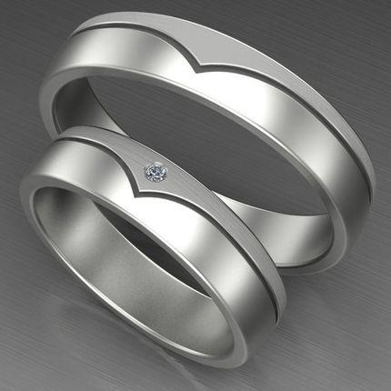 Обручальные кольца из белого золота с бриллиантом. На заказ