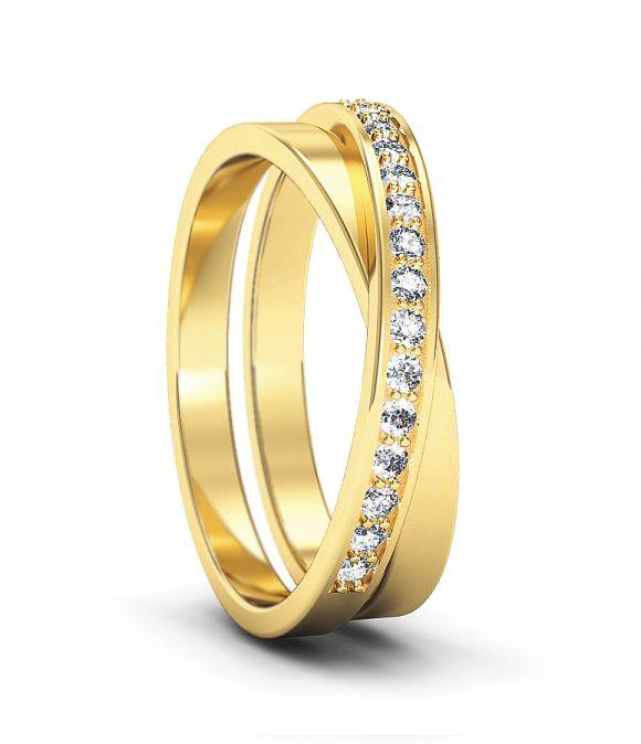 Двойное обручальное кольцо с бриллиантами. На заказ